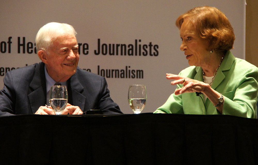 Former President Jimmy Carter and first lady Rosalynn Carter discussed global health and mental health at Health Journalism 2012