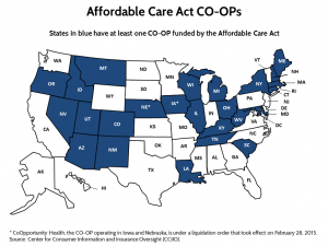 Source: The Affordable Care Act CO-OP Program: Facing Both Barriers and Opportunities for More Competitive Health Insurance Markets, Center for Health Insurance Reforms, The Commonwealth Fund blog, March 12, 2015.