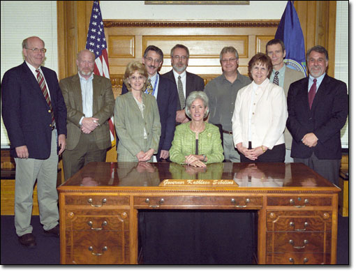 Several AHCJ members and staff visited Sebelius in Topeka on April 21, 2008, as part of AHCJs Midwest Health Journalism Program Fellowships.