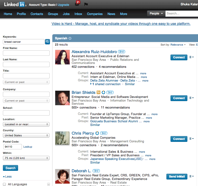 LinkedIn Advanced Search Results