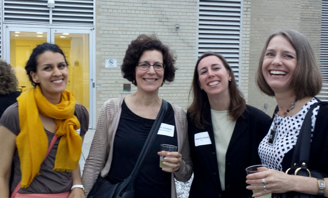 Photo: Phil GalewitzRachana Dixit of Inside Health Policy, Carol Eisenberg of Kaiser Health News, Rebecca Adams of CQ and Christine Stencel of Patient‑Centered Outcomes Research Institute (l-r) attended the happy hour event