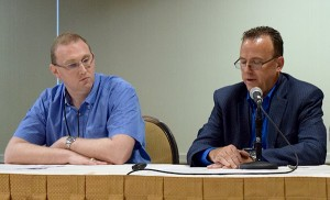 Medical student Russell Stanley (left) and Dr. Kevin Blanton (right) share the stresses and triumphs of providing care in rural settings at AHCJ's June 19 Rural Health Workshop.