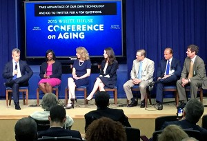 "The last panel of the day, ""Technology and the Future of Aging,"" featured (left to right) Jeff Zients, Donna Levin, Susannah Fox, Rachel Holt, Tom Parkinson, Larry Raffone and Charles Wallace."
