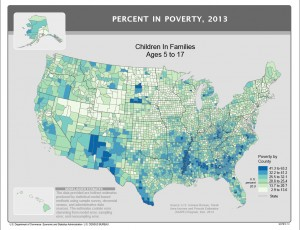 This map from the U.S. Census shows the 2013 poverty rate for U.S. children ages 5 to 17 in families.