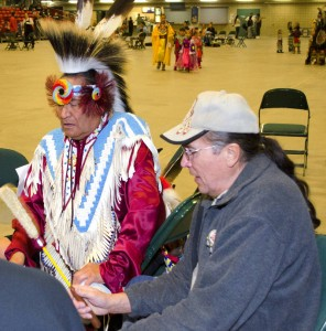 Photo: Mary IsaacsonPowwows provide a good venue for Pine Ridge elders to discuss advanced care planning and wills.