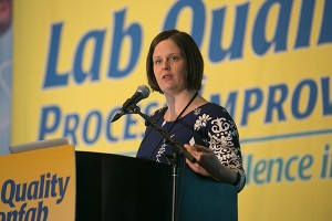 Photo courtesy of The Dark ReportInvestigative reporter Ellen Gabler last fall addressed a New Orleans meeting of clinical laboratory professionals at the annual Lab Quality Confab.