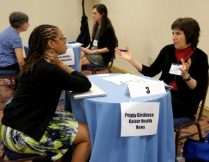 Photo: Pia Christensen/AHCJGirshman frequently met with writers at AHCJ's annual Freelance PitchFest.