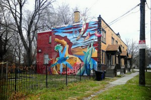 Photo: farrellink via FlickrA colorful urban mural brightens a street in the Hough neighborhood of Cleveland.