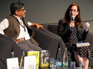 "AHCJ board member Maryn McKenna spoke on a panel about ""Writing and selling the 21st-century science book"" at the World Conference of Science Journalists in Lausanne, Switzerland, on July 2."