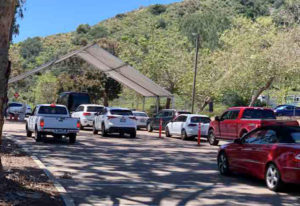 Cars lined up Wednesday afternoon at the COVID Clinic testing site near Cardiff-by-the-Sea, before it was shuttered by San Diego County health officials.
