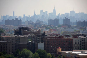 skyline from some projects in The Bronx
