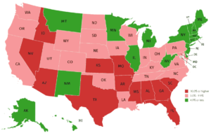 The American Health Care Association and National Center for Assisted Living say officials in 33 states with a COVID-19 test positivity rate of 5% or higher (states shaded in red and pink) should ensure that nursing homes have adequate supplies of personal protective equipment, pressure clinical laboratories to expedite test results and take other steps to reduce the spread of the coronavirus.