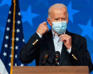 Biden wearing mask at podium