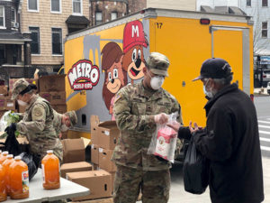 Food being distributed by the National Guard
