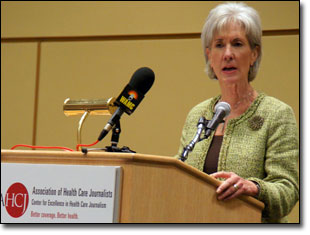 HHS Sec. Kathleen Sebelius spoke to journalists at Health Journalism 2010 in Chicago.