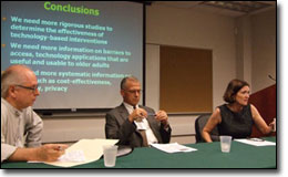 Sam Grogg, dean of the University of Miami School of Communication, left, moderates a session with Thomas Prohaska of the Center for Research on Health and Aging at the University of Illinois at Chicago and Sara Czaja of the Center on Aging at the University of Miami.