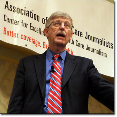 NIH Director Francis Collins spoke at a Newsmaker Briefing at Health Journalism 2011.