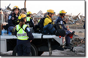 Emergency workers on the scene of a deadly tornado in Joplin, Mo.